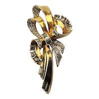 Vintage 1940s MAZER Rhinestone Pin - Self Wrapped Bow - Vermeil