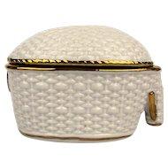 Vintage Enesco Porcelain Stylized Elephant Box w/ 18K Gold Trim