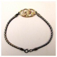 Unique 10K Gold - Sterling Silver Bracelet w/ Bird