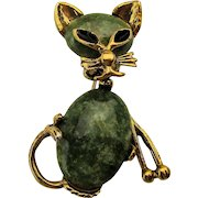 Cat w/ Jade Jelly Belly Pin Brooch
