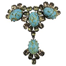 Austrian Crystal Rhinestone Pin w/ Turquoise Glass Cabs