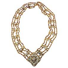 Juliana D & E Crystal Rhinestone Belt / Necklace Gilt Mesh