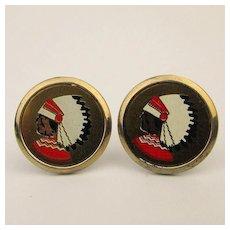 Vintage Mutual of Omaha Enamel Cufflinks - Native American Chief Logo