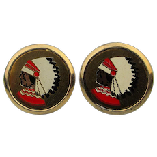 Vintage Mutual of Omaha Enamel Cufflinks - Native American Chief Logo