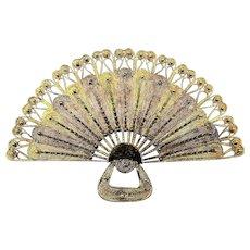 Hand Woven Italian Filigree Fan Pin Brooch - Sterling Silver Vermeil