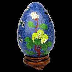 Big Vintage Cloisonne Enamel Egg on Stand - Bird Flowers or Flower