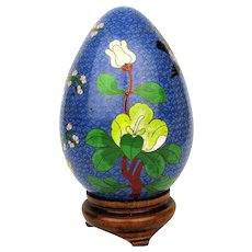 Big Vintage Cloisonne Enamel Egg on Stand - Bird Flowers or Flower