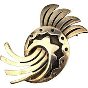 Mexican Sterling Silver Modernist Bird Pin JH Eagle 3