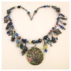 Sterling Silver Multi Cultural Charm Necklace Mexican - Native American - Chinese Charms / Beads
