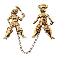 Vintage Sterling Silver Vermeil Dueling Pirates Pins Figural Pin