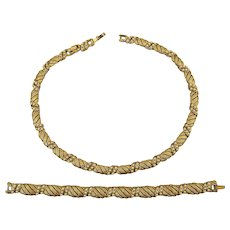 Crown Trifari Brushed Goldtone Faux Pearl Necklace Earrings Set
