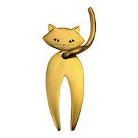 Big J.J. Moving Brushed Goldtone CAT Pin Brooch