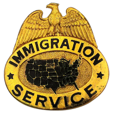 Rare 1930s U. S. Immigration Service Agent Hat Badge Numbered