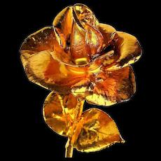 Big 12 inch Gilded Rose - Figural Flower Sculpture