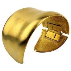 Vintage Matte Goldtone Wide Cuff Bracelet Hinged - Signed