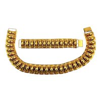Art Deco Goldtone Link Necklace Choker Bracelet Set c1940s