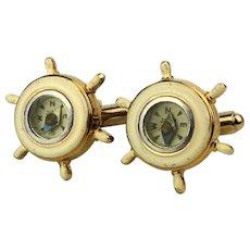 Vintage Working Compass Nautical Cufflinks 1950s Enamel Wheel