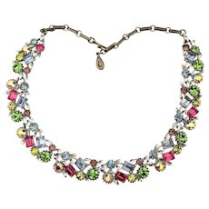 Vintage LISNER Multi-Color Rhinestone Necklace Dazzling Crystals