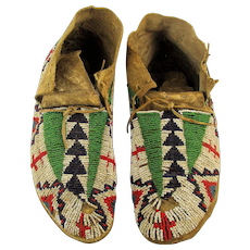 Antique Lakota Sioux Glass Beaded Moccasins c1880s Adult