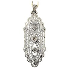 Art Deco Sterling Silver Filigree Lace Pendant Necklace