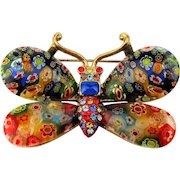 Vintage Sweet Romance Millefiori Glass n Rhinestone Butterfly Pin