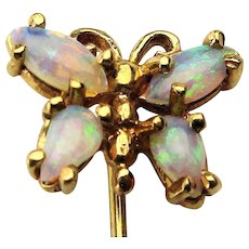 14K Gold Opal Winged Butterfly Stickpin Stick Pin