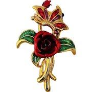 Enamel Rose w/ Butterfly Trembler Pin Brooch - A Mover & Shaker