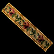 Vintage Petit Point Embroidered Hair Barrette w/ Roses