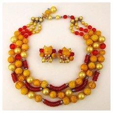 Robert DeMario Art Glass Bead Necklace w/ Earrings Set In Happy Colors