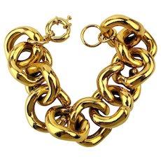 Big Goldtone Chain Link Bracelet Chunky Clunky n Clanky