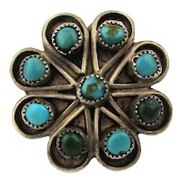 Old Sterling Silver Navajo Ring Atomic Design w/ Turquoise