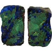 Stephen Dweck Blue / Green Azurite Stone Earrings on Sterling Silver