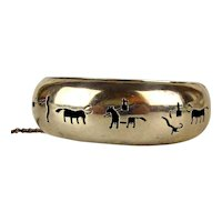 Taxco Sterling Silver Die-Cut Overlay Bracelet Bullfight Vignettes