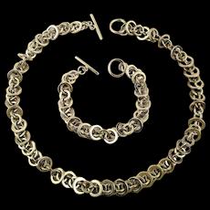 Vintage Silvertone Necklace n Bracelet Set - Circles Everywhere