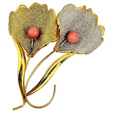 Vintage Sparkly Flower Pin w/ Genuine Coral
