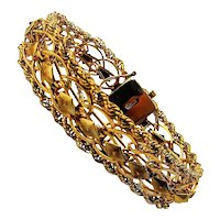 Wide Wonderful Gold-Filled Openwork Bracelet