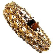 Wide Wonderful Gold-Filled Openwork Bracelet