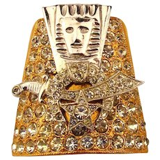 Masonic Shriner Rhinestone Pin / Scarf Holder Ornate