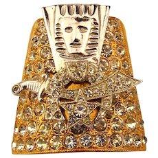 Masonic Shriner Rhinestone Pin / Scarf Holder Ornate