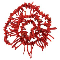 Vintage Red Branch Coral Necklace