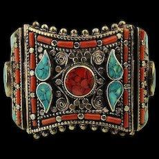 Big Tibetan Hinge Bracelet Coral Turquoise Ornate Silver Metal Work