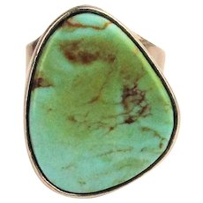 Sterling 980 Silver Navajo Ring w/ Big Turquoise Navaho