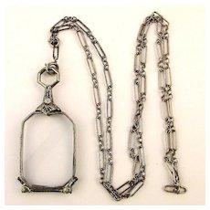 Sterling Silver Folding Lorgnette Pendant on Chain Magnifier Eyeglasses Opera Glasses