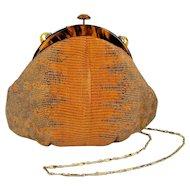 French JACOMO Paris Snakeskin Handbag Python w/ Lucite Frame
