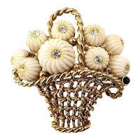 Signed Boucher Basket Pin Filled w/ Milk Glass Flowers