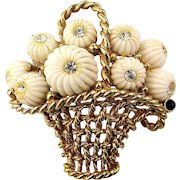 Signed Boucher Basket Pin Filled w/ Milk Glass Flowers