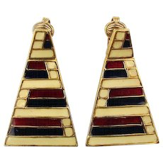 Signed CINER Modernist Enamel Earrings Patriotic Piano Keys