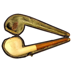 Old Austrian SIM Amber - Meerschaum Pipe in Leather Case