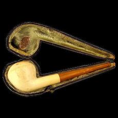 Old Austrian SIM Amber - Meerschaum Pipe in Leather Case