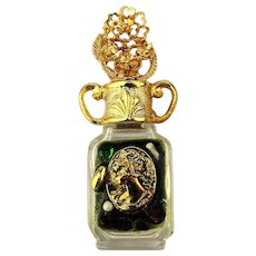 Fancy ADRIAN Miniature Perfume Bottle Jeweled Gilded in Box